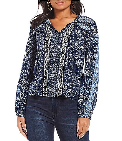 Lucky Brand Printed Knit Peasant Top
