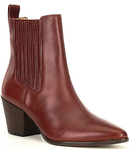 Lucky Brand Radah Leather Block Heel Western Booties