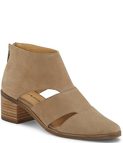 Lucky Brand Ralwayn Cut-Out Stacked Block Heel Booties