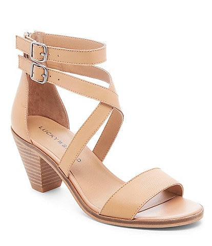 c2f603be3f9 Lucky Brand Ressia Leather Cone Heel Sandals