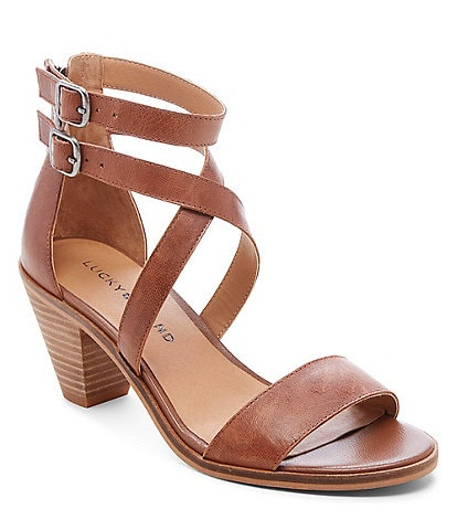 Lucky Brand Ressia Leather Cone Heel Sandals