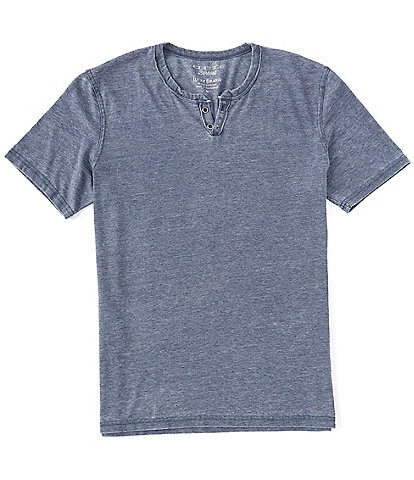 Lucky Brand Short-Sleeve Button Notch-Neck Venice Burnout Tee