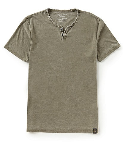 Lucky Brand Short-Sleeve Button Notch-Neck Venice Burnout Tee