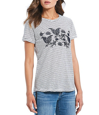 Lucky Brand Striped Paisley Print Flocked Tee
