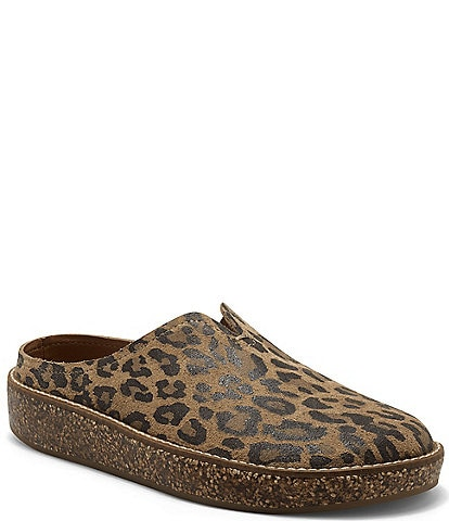 Lucky Brand Tamala Leopard Printed Leather Mule Clogs