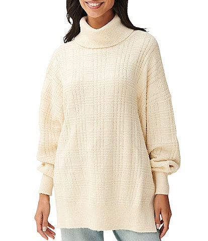 Lucky Brand Textured Stitch Turtle Neck Blouson Sleeve Tunic Sweater