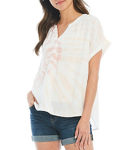Lucky Brand Tie Dye Band Split Neck Button Front Short Sleeve Top
