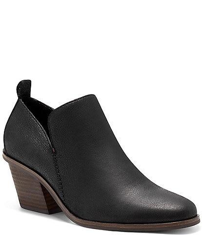 Lucky Brand Victorey Leather Block Heel Booties