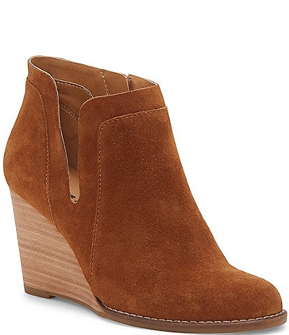 Lucky Brand Yabba Suede Ankle Wedge Booties