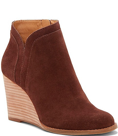 Lucky Brand Yimina Waterproof Suede Ankle Wedge Booties
