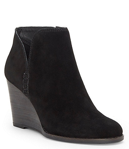 Lucky Brand Yimmie Oiled Suede Wedge Booties