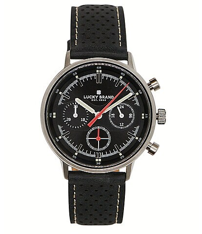 Lucky Fairfax Black Perforated Leather Multifunction Watch