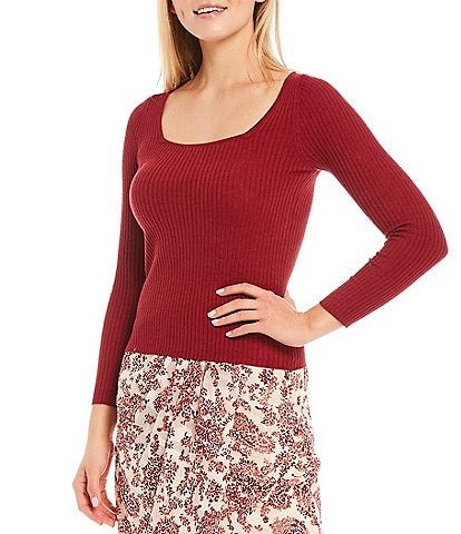 Lucy Paris Calais Square Neck Fitted Knit Sweater