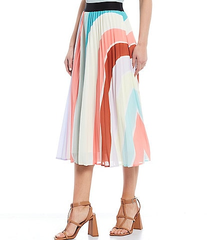 Lucy Paris Edie Color Block Pleated Midi Skirt