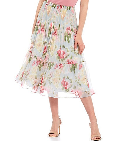 Lucy Paris Floral Print Pull-On Tiered High Rise Midi Skirt