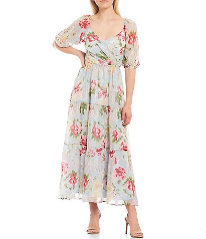 Lucy Paris Floral Surplice Neck Puff Sleeve A-Line Midi Dress