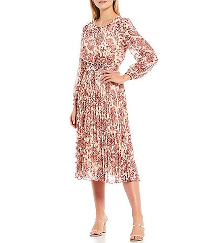 Lucy Paris Juliana Floral Print Pleated Detail Long Sleeve Belted Midi Dress