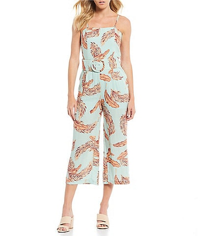 Lucy Paris Maya Square Neck Belted Leaf Print Wide Leg Jumpsuit