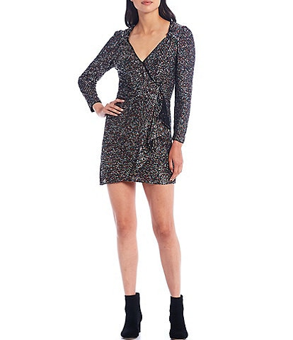 Lucy Paris Multi Sequin Long Sleeve Faux Wrap Dress