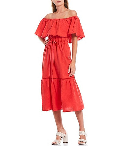 Lucy Paris Off-The-Shoulder Short Sleeve Popover Midi Dress
