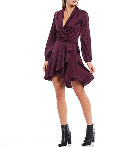 Lucy Paris Satin Long Sleeve Ruffle Hem Mini Wrap Dress