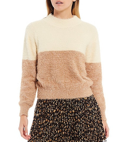 Lucy Paris Solstice Two Toned Mock Neck Long Sleeve Eyelash Sweater