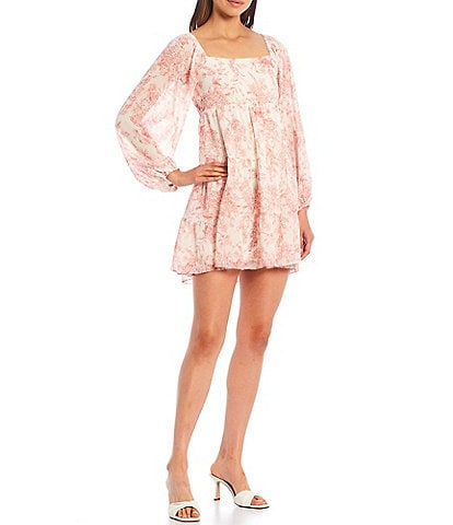 Lucy Paris Tilde Floral Print Square Neck Long Blouson Sleeve Tiered Babydoll Dress