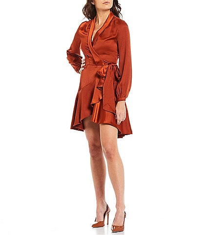 Lucy Paris V-Neck Long Sleeve Fit-and-Flare Satin Ruffle Wrap Dress