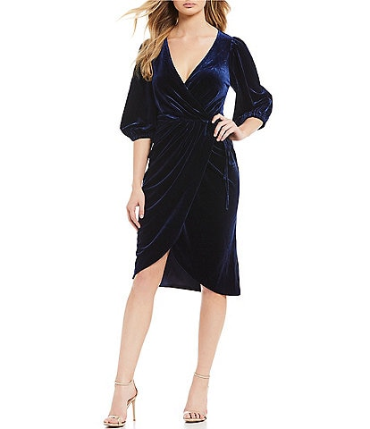 Lucy Paris Velvet Balloon Sleeve Wrap Dress