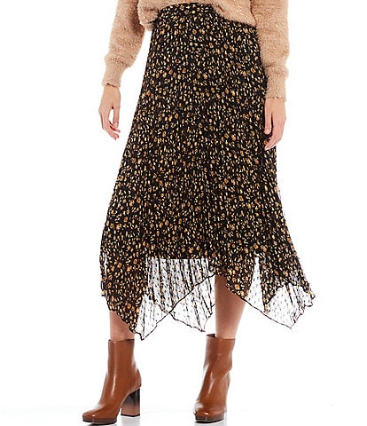 Lucy Paris Vera Floral Print Pleated Asymmetric Midi Skirt