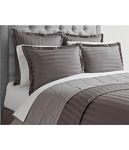 Luxury Hotel Damask Stripe 600 Thread-Count Supima Cotton Duvet Cover Mini Set