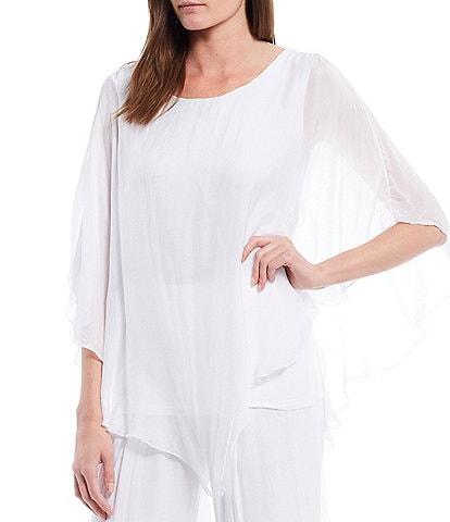 M Made in Italy 3/4 Sleeve Asymmetrical Hem Silky Woven Top