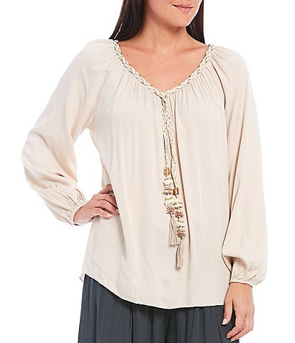 M Made In Italy Balloon Sleeve Piping Detail Peasant Boho Top