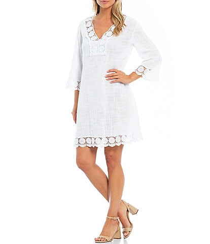 M Made In Italy Crochet Lace Trim Cotton V-Neck 3/4 Short Sleeve Shift Dress