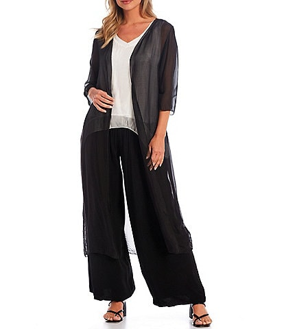 M Made in Italy Elbow Sleeve Silk Blend Long Cardigan