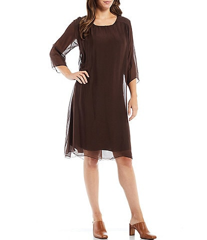 M Made in Italy 3/4 Sleeve Silk Blend Jewel Neck Shift Dress
