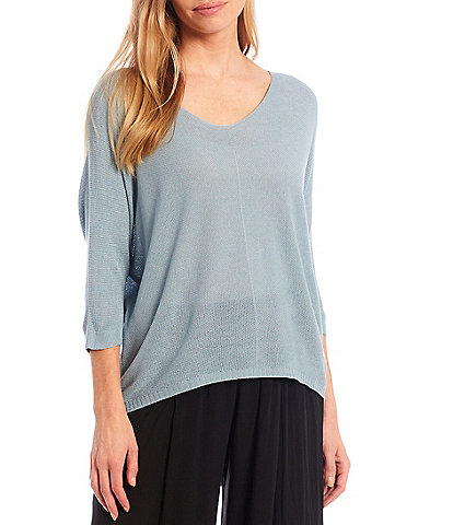 M Made In Italy Elbow Sleeve V-Neck Knit Top