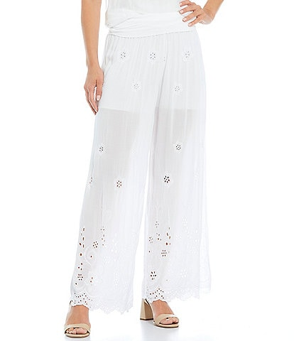 M Made in Italy Eyelet Lace Wide Leg Palazzo Pants
