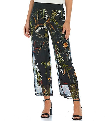 M Made in Italy Floral Print Silk Blend Wide Leg Pants