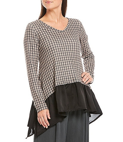 M Made in Italy Houndstooth & Black Contrast Layered Flare Hem Tunic