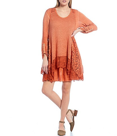 M Made In Italy Knit Layered Lace Panel Layered 2-Piece Dress