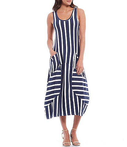 M Made in Italy Knit Stripe Scoop Neck Sleeveless Midi Dress with Pockets