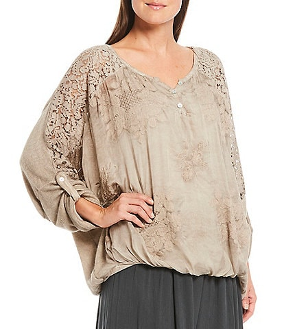 M Made in Italy Lace Long Roll-Tab Sleeve Bubble Hem Tunic