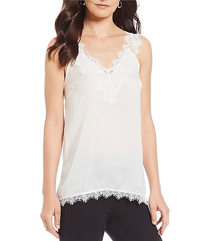 M Made in Italy Romantic Lace Trim V-Neck Cami