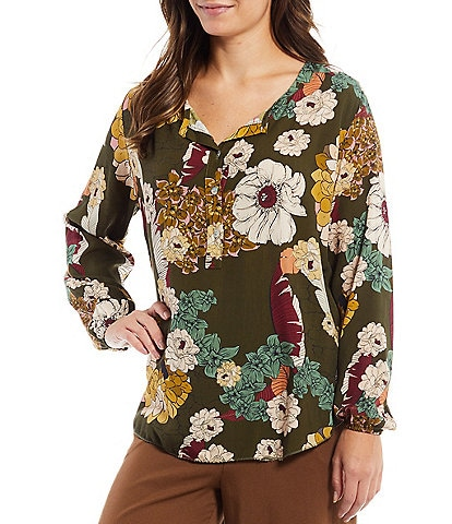 M Made in Italy Long Sleeve Floral Print Henley Neck Woven Top