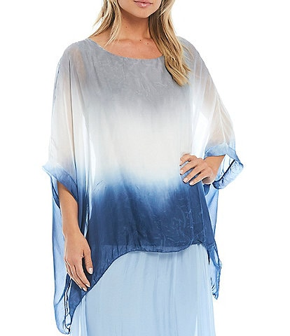 M Made In Italy Ombre Tie Dye Silk Blend Tunic