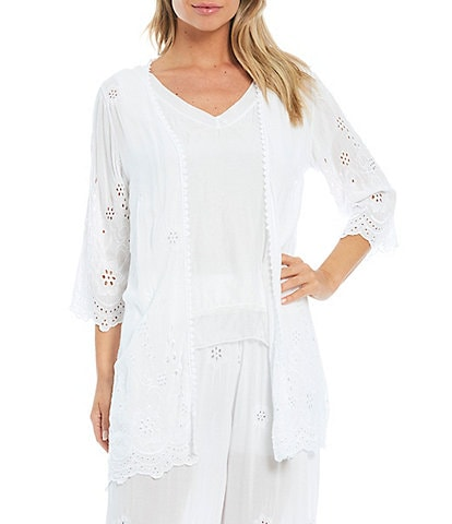 M Made in Italy Open Front Eyelet Lace 3/4 Sleeve Cardigan