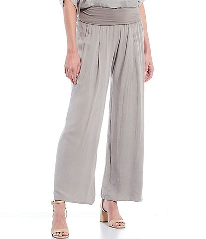 M Made in Italy Pull-On Pleat Detail Wide Leg Pants