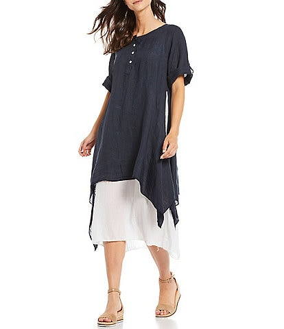 M Made In Italy Roll Tab 3/4 Sleeve Layered Linen Dress