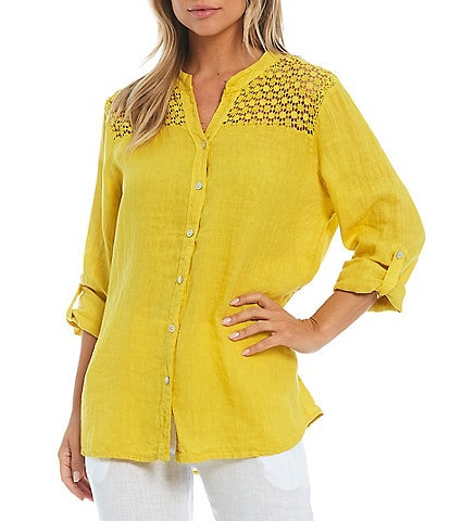 M Made in Italy Roll Tab Crochet Trim Button Front Top